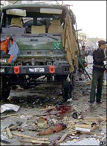 Pakistani police officer at the explosion site in Quetta, Pakistan