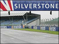A view of the start-finish straight at Silverstone