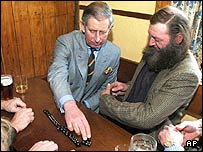 Prince Charles plays dominoes