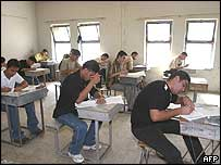 Students sit an exam in a Baghdad school