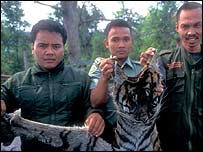 Rangers with tiger pelt   Jeremy Holden/FFI