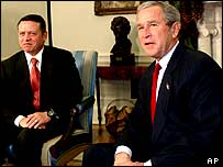 President Bush meets with the King Abdullah of Jordan in the Oval Office of the White House on 6 December 2004.
