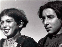 Photograph of gypsy children from the film Tiefland