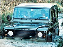 Land Rover vehicle fording a stream
