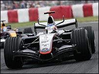 Kimi Raikkonen on his way to victory in Canada