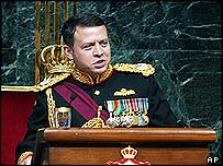 King Abdullah at opening of parliament