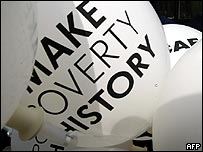 Make Poverty History balloons