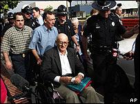 Edgar Ray Killen (in wheelchair) arrives at court