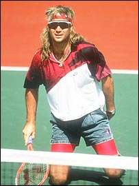 Andre Agassi shows-off his style circa 1991