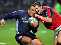 Marcus Horan (right) tries to get a tackle in on Castres' David Bory