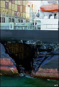 The MSC Ilona, a container ship registered in Germany, leaks oil from its fuel tanks into the South China sea
