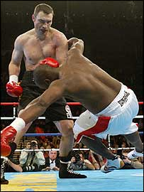 Vitali Klitschko (left) knocks down Danny Williams