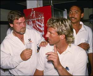 Captain Mike Gatting, Botham and Phil DeFreitas