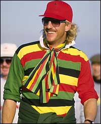 Botham in colourful garb on the way to Land's End