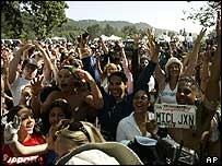 Michael Jackson fans outside his Neverland ranch