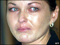 Australian Schapelle Corby cries as the judge reads her sentence during her drugs trial in Denpasar, on the Indonesian resort island of Bali, 27 May 2005