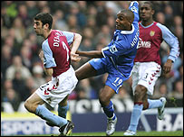 Clinton Morrison (centre) opens the scoring for Birmingham against Aston Villa