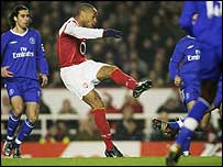 Thierry Henry strikes his sublime opener for Arsenal in the game against Chelsea at Highbury