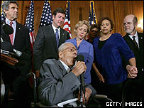 Lynching survivor James Cameron, surrounded by US senators