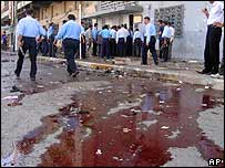 Blood on the street after a suicide bomb attack in Kirkuk, Iraq