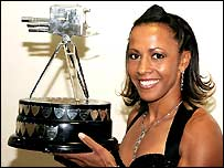 Kelly Holmes poses with the BBC trophy