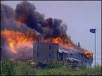 Flames engulf the Branch Davidian compound in Waco, Texas, in April 1993