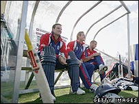 England players in a dugout at the Rose Bowl