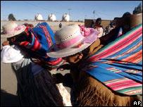 Mujeres ind�genas en El Alto, Bolivia