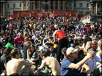 crowd at pro-cannabis rally, London, May 2005