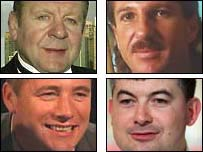 Clockwise from top left: Bill Beaumont and Ian Botham, John Parrott and Ally McCoist.