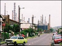 An oil refinery visible from the road, BBC