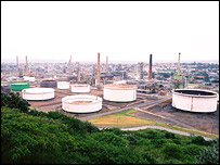 An oil refinery, BBC