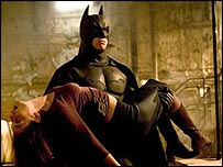 Katie Holmes and Christian Bale in Batman Begins