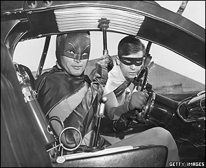 Comic-book hero Batman and his sidekick Robin were popularised in the 1960s television series Batman.