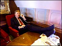Donald Trump aboard his private plane in 2000