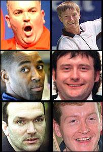 Phil Taylor, Yevgeny Kafelnikov, Darren Campbell, Jimmy White, Neil Ruddock and Steve Davis