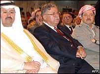 Left to right: Former Iraq interim President Ghazi al-Yawer, President of Iraq Jalal Talabani and  Kurdish leader Massoud Barzani at Tuesday's ceremony