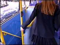 School girl on a bus