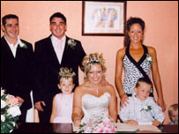 Scott and wife Aimee on their wedding day with Warren and partner Katie Holder. Children (left to right) - Scott's daughter, Tyla (5) and Warren's sons, Jacques (5) and Lewis (2)