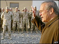 US Defence Secretary Donald Rumsfeld in Afghanistan