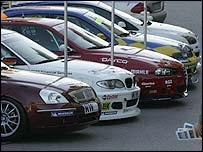 A line-up of the new World Touring Car Championship cars