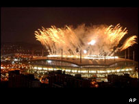 Fireworks explode over the Seoul World Cup Stadium during the opening ceremony of the 2002 World Cup, Friday, May 31, 2002.