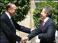 Jacques Chirac and Tony Blair in Paris