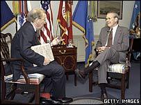 Sir David Frost (left) and Donald Rumsfeld