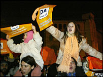Basescu's supporters on the streets of Bucharest