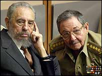 Fidel and Raul Castro in Havana on 1 July