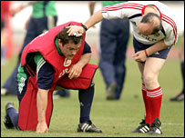 Bulloch receives treatment after a training-ground clash on Sunday