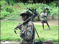 A soldier on patrol in eastern DRC