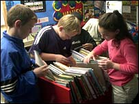 children in primary school library