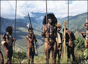 Asmat men, Papua, Indonesia. Copyright: Jeanne Herbert